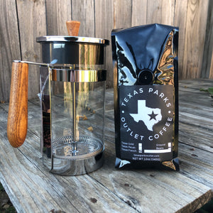 Large French Press + Coffee Bundle (Wooden Handle)