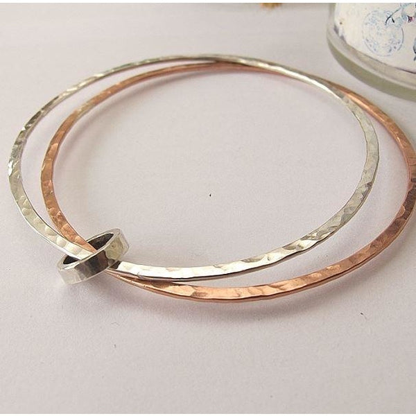 9ct rose gold and 925 sterling silver double bangle