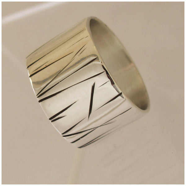 Silver textured stripe ring