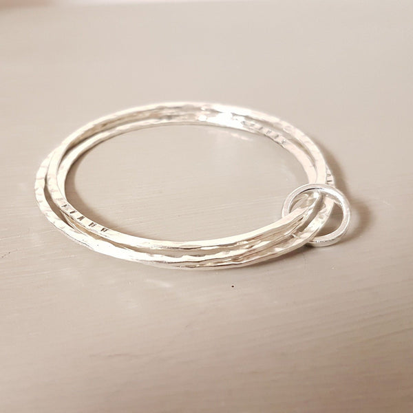 Sterling silver triple bangle with ring