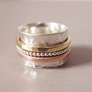 Fidget ring gold, silver & rose gold