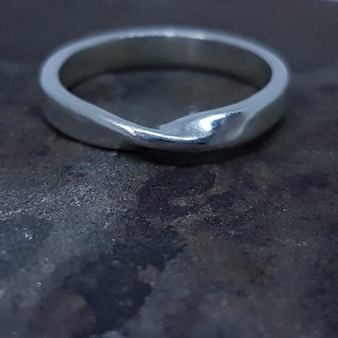 Sterling silver twist wedding ring