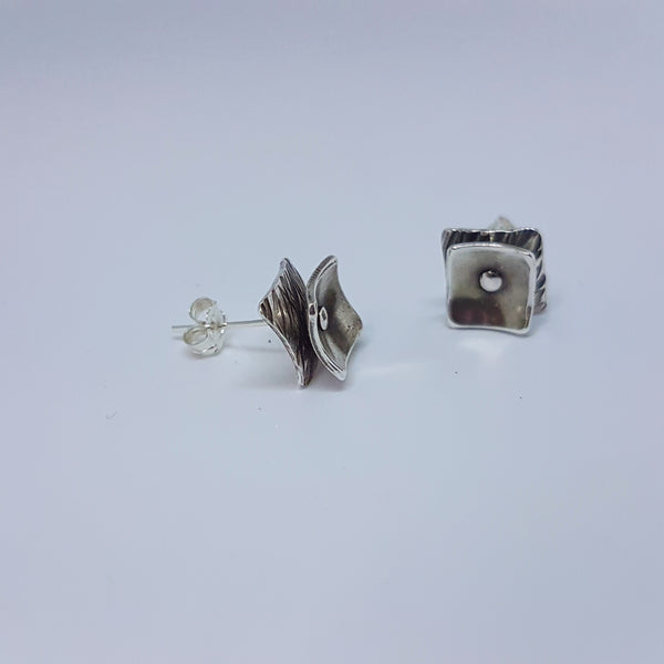 Sterling silver handmade square double earrings