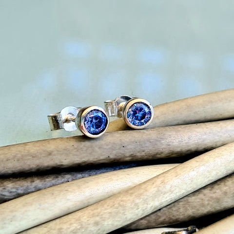 Sparkly blue silver stud earrings