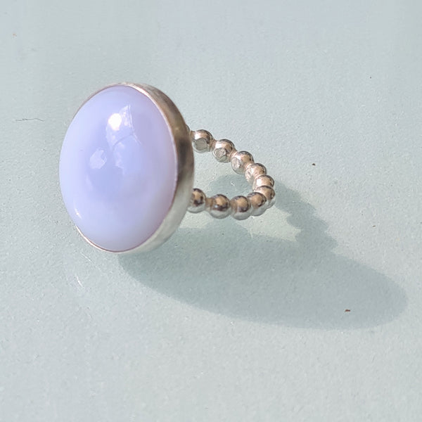 Blue Chalcedony stone ring