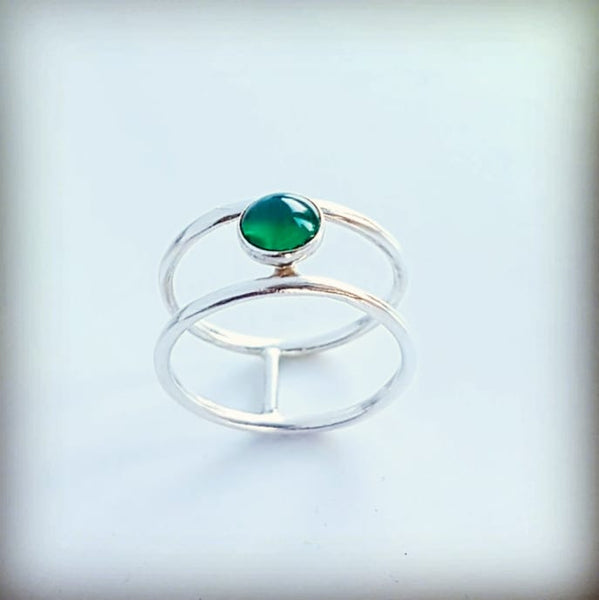 Contemporary ring with coloured stone