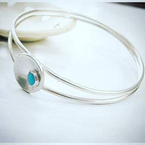 Stacking silver double bangle with Turquoise stone