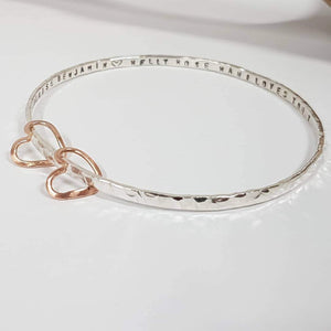 Silver bangle rose gold heart