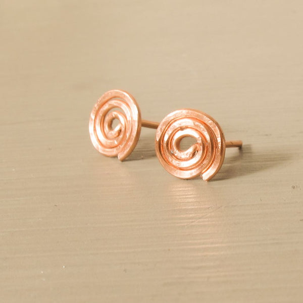 Rose gold spiral earrings