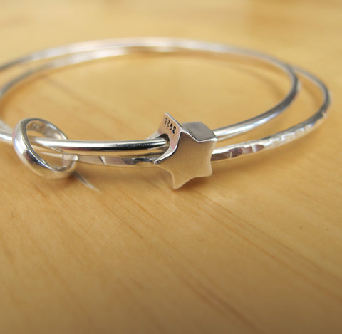 Sterling Silver Double Star Bangle
