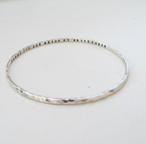 Sterling Silver Hammered Mantra Bangle