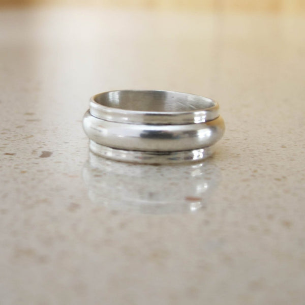 Silver chunky wedding ring