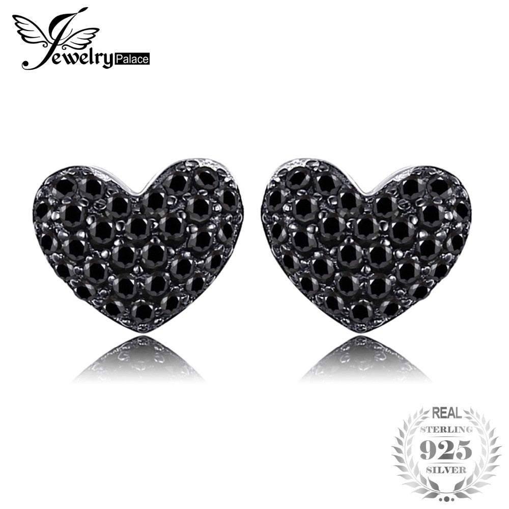 Black Spinel Love Heart Earrings