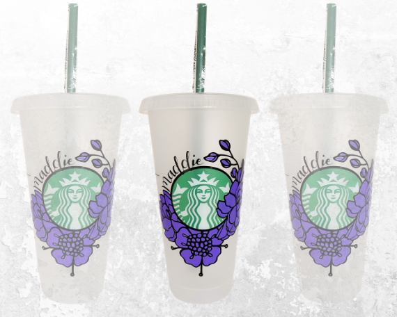 Floral Starbucks Logo Cup