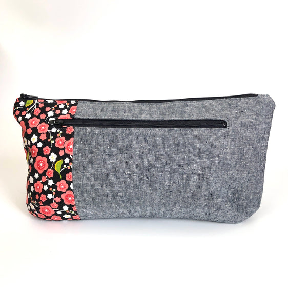 Gray Linen with Hanafuda Floral Poppy Clutch