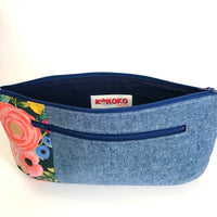Blue Linen with Rifle Paper Floral Poppy Clutch