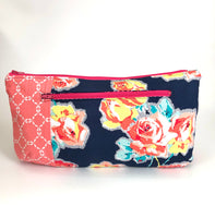 Navy Rose Bouquet with Peach Contrast Poppy Clutch