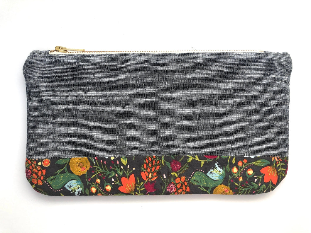 Gray Linen and Floral Travel Clutch