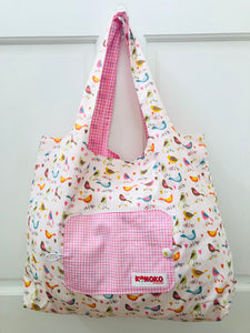 Retro Birds Folding Eco-Tote