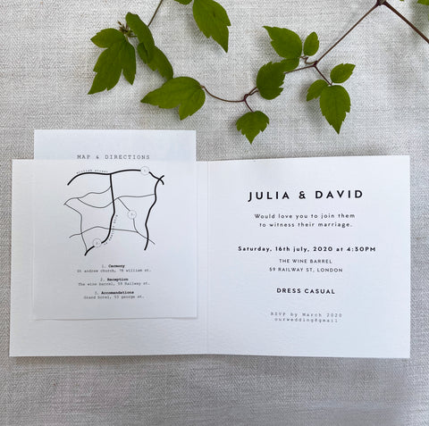 wedding invitation map and illustration