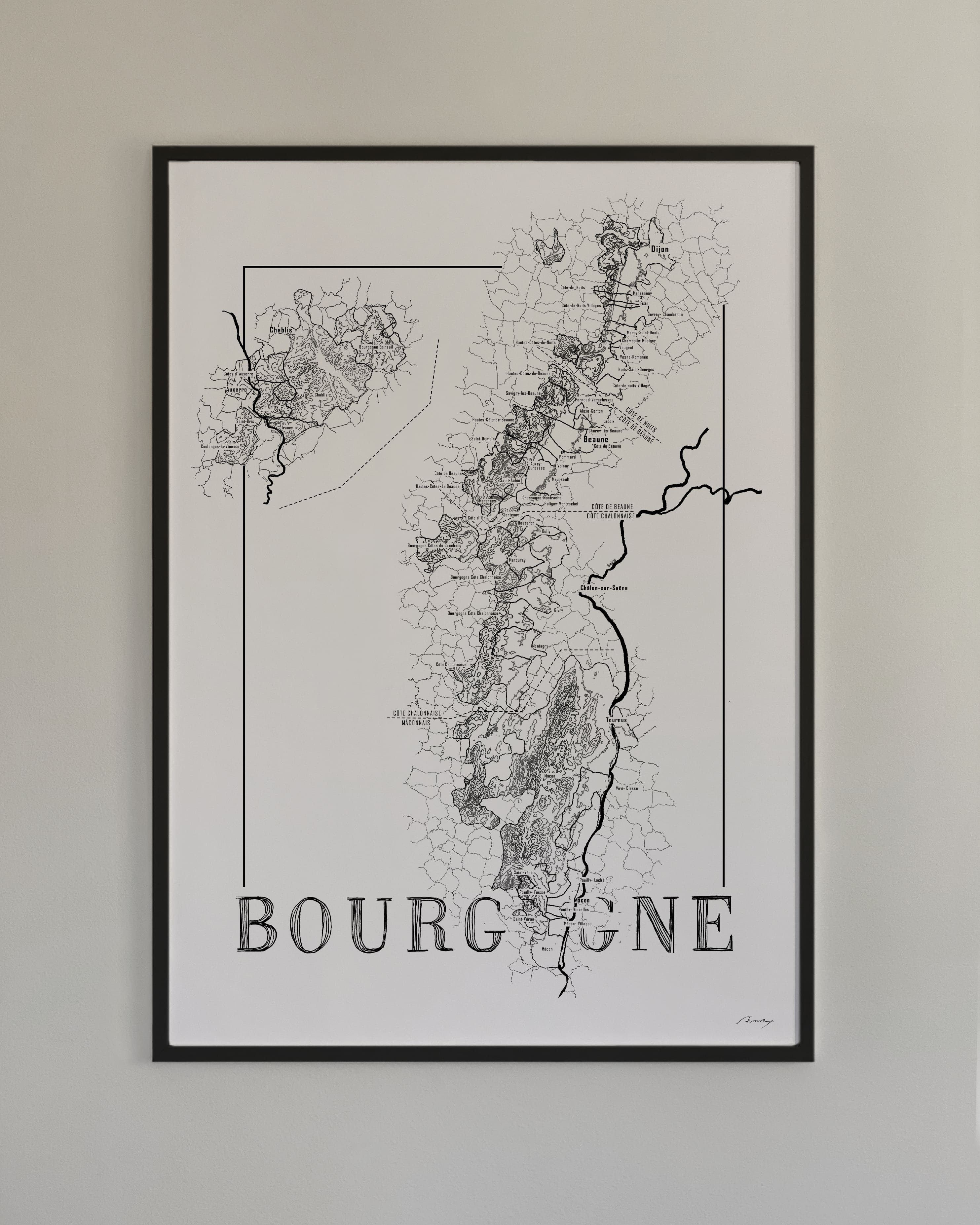 burgundy bourgogne wine map vinkarta