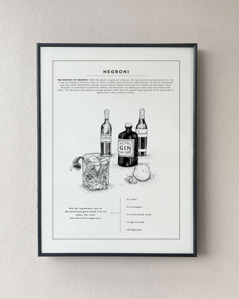 negroni recipe kitchen poster