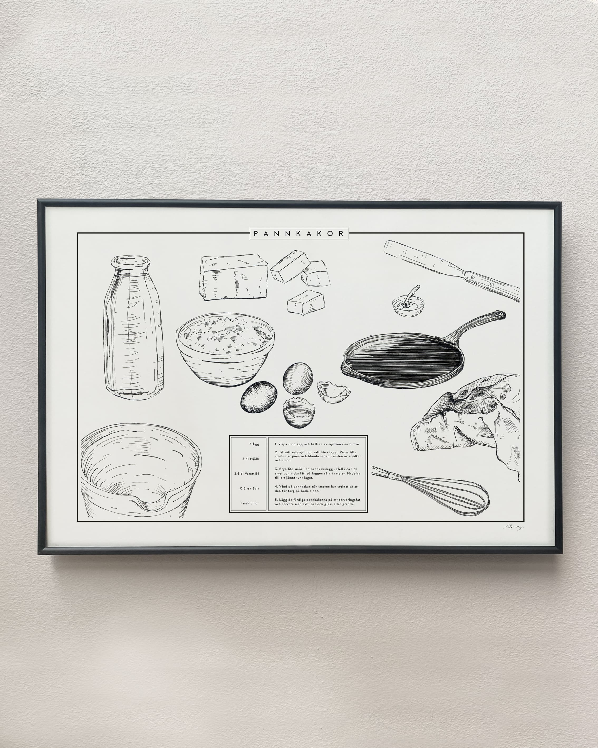 pancake recipe kitchen poster