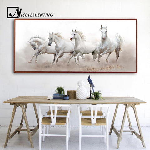 White Horses Wall Art Canvas Prints Canvas Art Wall Picture Unframed ...