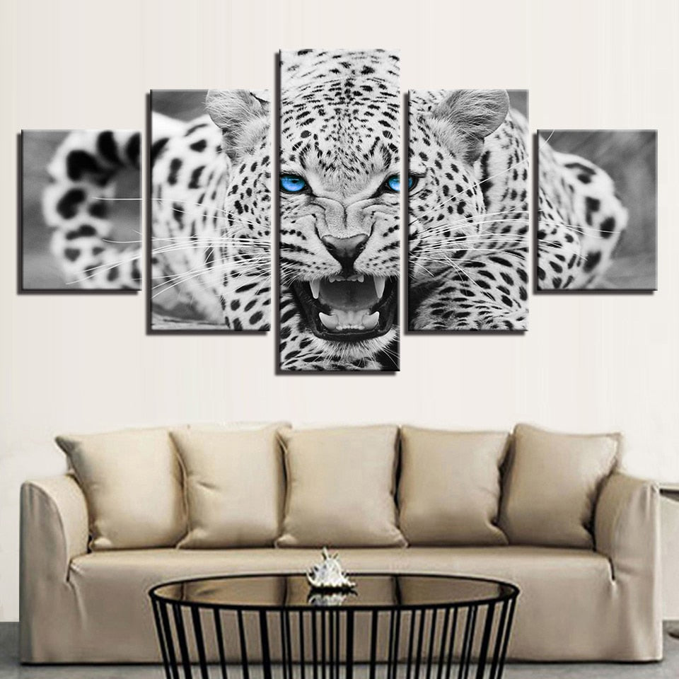 Canvas wall art hd prints 5 pieces blue eyes leopard tiger paintings framed unframed