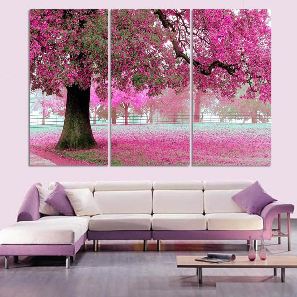 Canvas painting wall art canvas print pictures 3 piece set beautiful tree scenery modern hd