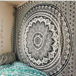 "Black on White, 82""x59"" mandala print wall tapestry. 100% polyester. Hand wash only."