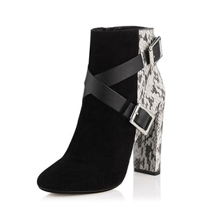 Jady Rose Snakeskin Women Ankle Boots Belt Buckle Rubber Boot Chunky High Heel Shoes