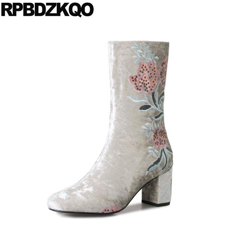 Flower High Heel Sequin Embroidery Big Size Ankle Grey Fur Embroidered Brand Satin Winter Chunky Designer Shoe