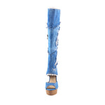 Denim Knee Women Boots Lace Holed Sexy Peep Toe High Heels