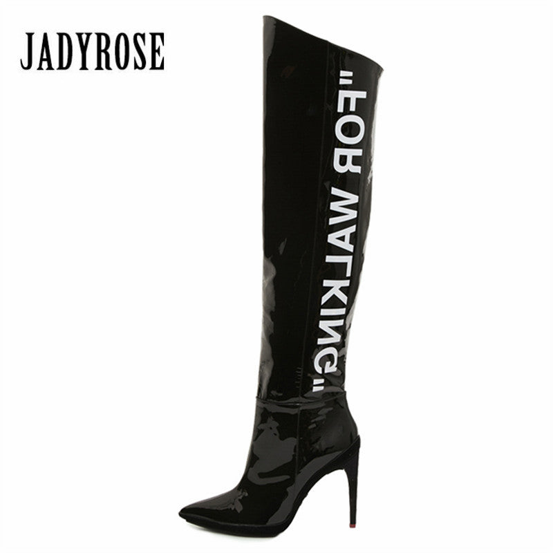 Jady Rose Designer Women Knee High Boots Patent Leather Letter Print 9CM High Heel Long Boot