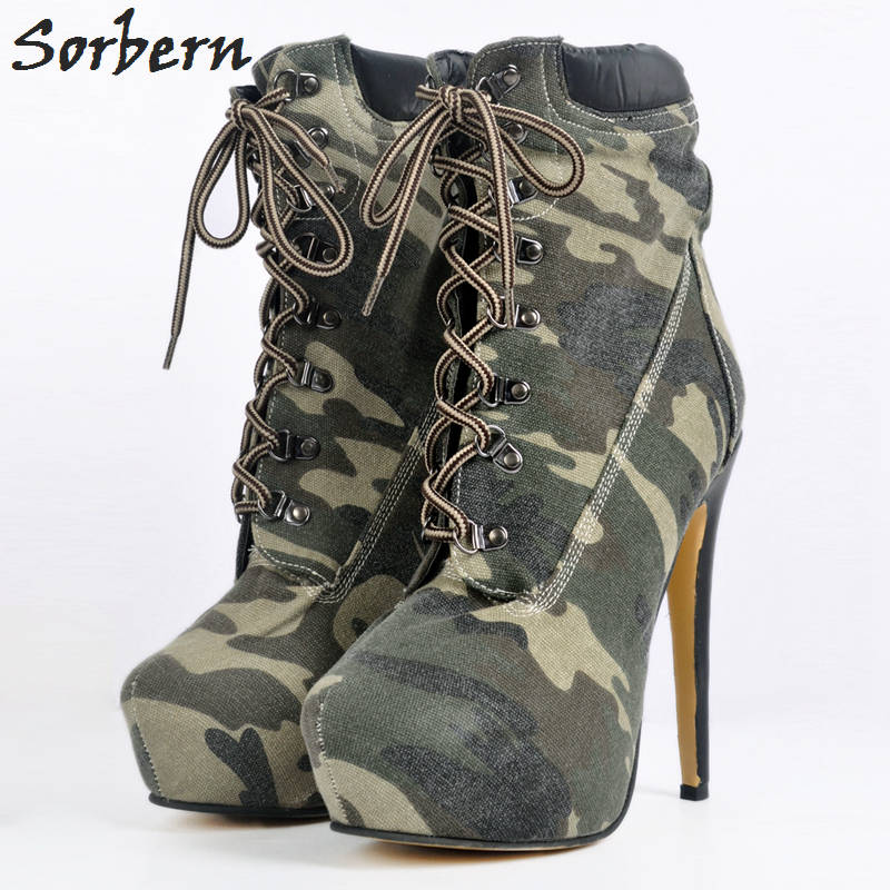 Camouflage Denim Women Boots Plus High Thin Heels Ankle Boots For Women
