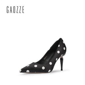 Polka Dot Silk Cloth Pumps Women Banquet Shoes Pointed Toe Social Party High Heels