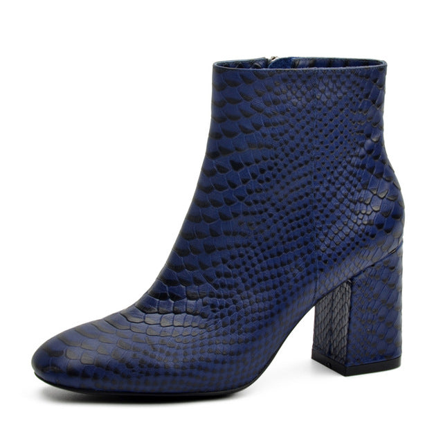 Snake Leather Women Ankle Boots Square Toe Thick High Heel Python Embossed Genuine Leather Boot