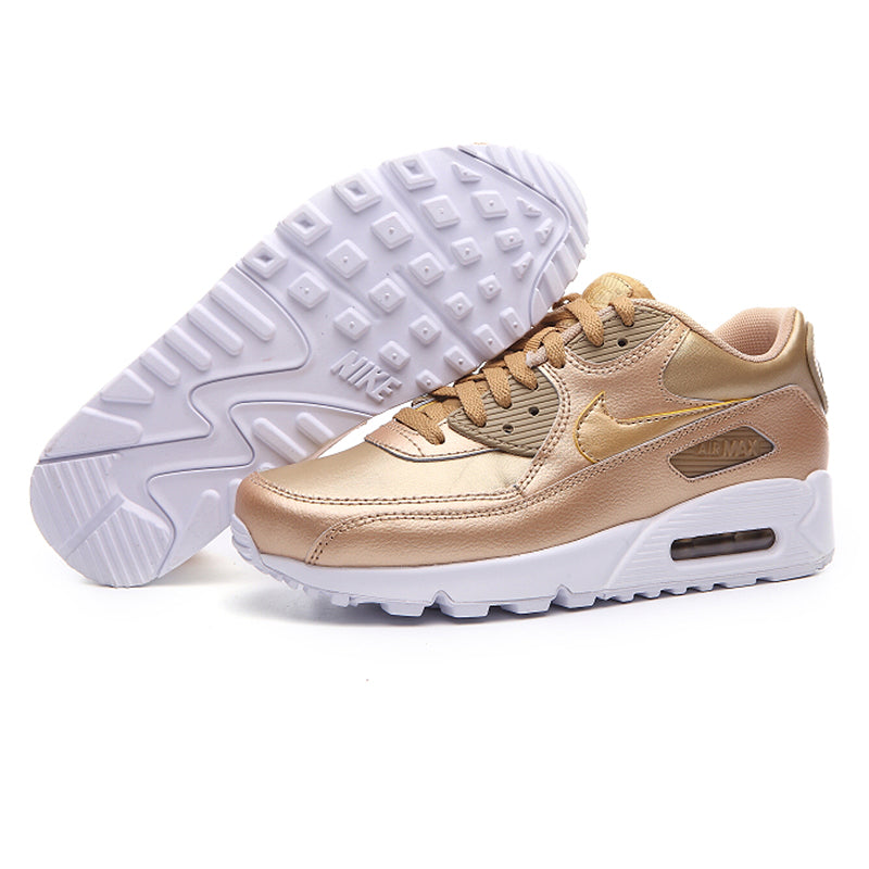 Nike AIR MAX 90 LTR GS New White Powder Champagne Women's Running Shoes