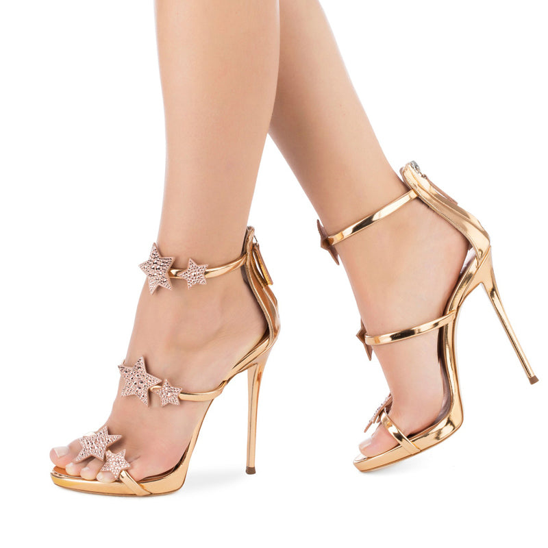 Crystal Star Decor Ultra High Rose Gold Banquet Wedding Show High Heels