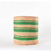 Large Green Stripes Handmade Basket