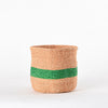 Small Green Stripes handmade basket