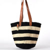 Classic black & white striped tote bag