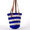Ocean blue striped tote bag
