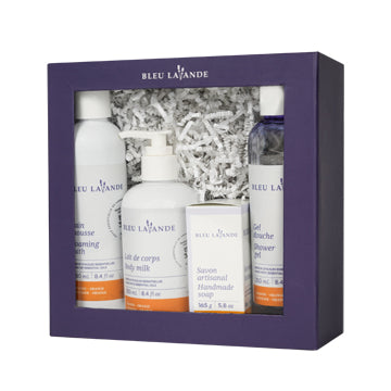 Ensemble bain et douche lavande-orange / Lavender-orange bath & shower gift set