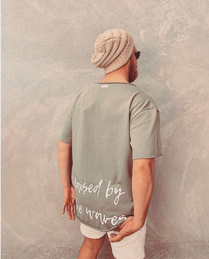 Raised by the waves raw edge men's tee
