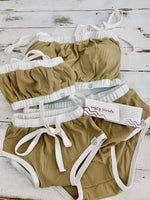 Khaki ribbed swim bottom