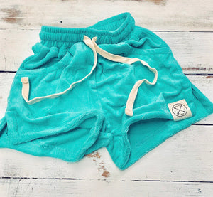 Terry towelling groms beach shorts - ocean blue