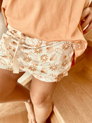 Sunshine shells salty swells bamboo pattern shorties