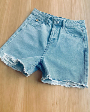 SS distressed blue denim shorts - Ladies